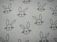 Flannelette Fitted Bunnies White Cot Sheet Handmade