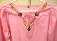SPRING PINK SOLID S XS EMBROIDERED FLOWER BELL SLEEVE FEMININE BOHO BLOUSE WOMEN