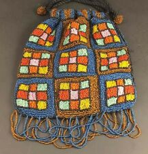 Vintage Handmade Colorful Beaded Boho Hippie Drawstring Purse Pouch Handbag