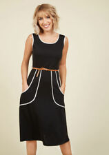 NWT Modcloth Sunny Girl Dress $64.99 Outline of Work Black SMALL Retro Pockets
