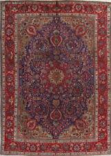 Antique Geometric Navy Blue Tabriiz Kashmar Persian Area Rug Oriental Wool 8x10