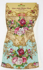 Michal Negrin Cream Cotton Roses Satin Pockets Kitchen Towel New Victorian Style