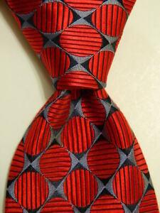 ROBERT TALBOTT Best of Class Men's 100% Silk Necktie USA Geometric Red/Blue GUC