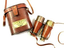 "Nautical Antique Brass Leather Binocular 6"" Maritime Spyglass with Leather Cover"