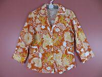 TB02286- COLDWATER CREEK Woman 100% Cotton 3/4 Sleeve Blouse Multi-Color Sz L