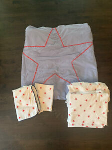 Serena & Lily Kids Red Star Twin Duvet 5 Piece Set  Sheets Euro Sham Pillow