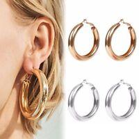 1 Pair Women Fashion Geometric Big Round Circle Hoop Earrings Statement Jewelry