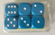NEW German Precision Dice Set of 6 D6 16mm Teal Blue w/ White Pips Kings Cards