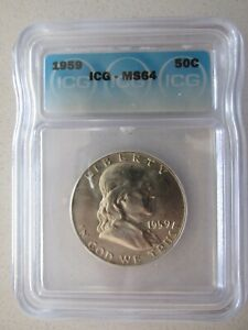 1959 Franklin Silver Half Dollar MS64