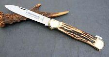 "HUBERTUS HUNTING BACKLOCK POCKET KNIFE CARBON STEEL C45 / 4.13"" BLADE / STAG"