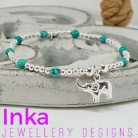 Inka Sterling Silver bead Stacking Bracelet with Turquoise and an Elephant Charm