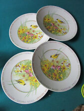 """Marjolein Bastin Wildflower 4 Plates Yellow GoldFinch Bird 8"""""""