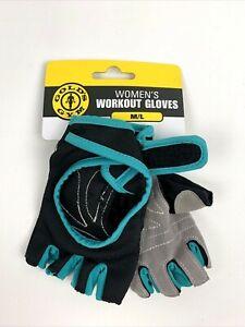 Women's Golds Gym Workout Gloves M/L Black Teal Blue Brand New