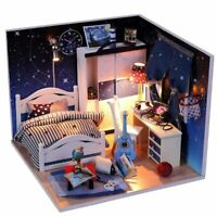 Bed Room Miniature Dollhouse DIY Model Kits with Furniture LED 1:24