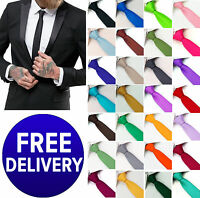 GIFTS FOR MEN Skinny Retro 5cm Mens Plain Solid Shiny Satin Party Wedding Tie
