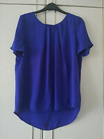 TU WOMENS PURPLE PLEATED SHORT SLEEVE BLOUSE CHIFFON TOP SIZE 12 LENGTH 26 INCH
