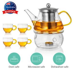 600ML Glass Tea Set Heat Resistant Kettle Coffeepot with Teapot Warmer 4 Cups