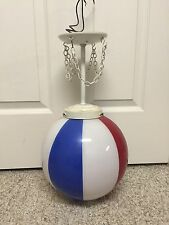 "True Vintage 10"" Globe Ceiling Barber Light Red/White/Blue Glass Shade Old"