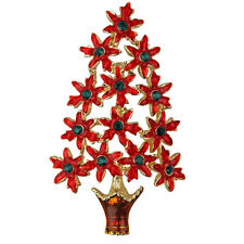 NEW KIRKS FOLLY PERFECT POINSETTIA CHRISTMAS TREE  PIN  GOLDTONE