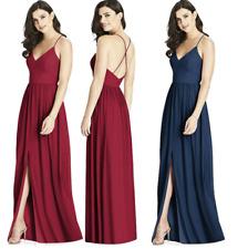 elegante abito lungo cerimonia donna damigella scollatura V spalline incrociate