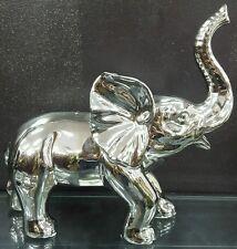 Silver CHROME elephant figurine / statue / ornament - fengshui home decoration