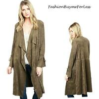 Olive Western Cowgirl Hippy Goth Faux Suede Leather Duster Jacket Coat S M L XL