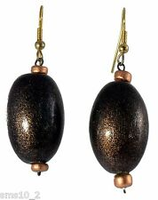 Mid Brown & Gold Colour Wooden Earrings CJE863