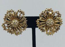 Ciner Vintage Yellow Gold Plated Rhinestone Flower Clip Earrings