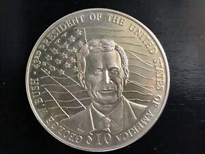 2001 George Bush Republic of Liberia 10 Dollars Coin