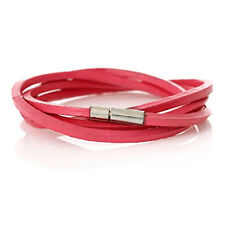 Fushia Cowhide Leather Bracelet Many Loops With Cord End Clasp