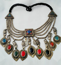 Brass / Silver Plate Middle Eastern Necklace Inlaid with Stones