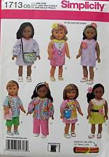 New Pattern 1713 Doll Clothes Casual Outfits and Purse fit 18 inch American Girl