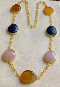 Handmade Matte Gold Polished Yellow Chalcedony-Lapis- Rose Qtz Necklace N4-022-5