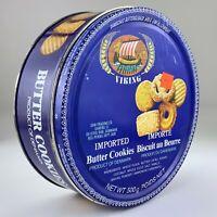 Vintage Butter Cookies Denmark Blue Tin Biscuit Advertising Empty U937