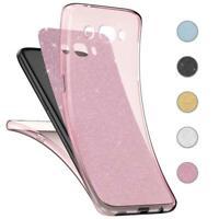 Handy Hülle Samsung Galaxy J7 2016 Full TPU Case Glitzer Schutzhülle Cover Klar