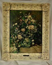 Antique Pierre-Auguste Renoir Large Vase of Flowers Print On Canvas