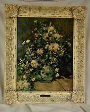 Antique Pierre-Auguste Renoir Large Vase of Flowers Print On Canvas