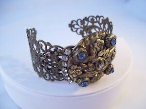 Repurposed Cuff Bracelet Antique Belt Buckle Rhinestones Crystal OOAK Hand Made