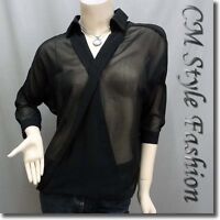 Chic Sheer Twisted Blouson Blouse Shirt Top Black M~L