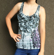 Y LONDON Juniors Boho Burnout Tank Top Tie Dye Ruffle Graphic Rhinestones