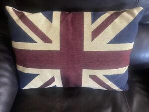 "British Flag Union Jack 16"" x 11"" Pillow EUC"