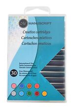 30 MANUSCRIPT CREATIVE INK CARTRIDGES ASSORTED COLOURS FOUNTAIN  PEN MC0402ASC