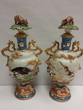 Antique Pair of German Porcelain Vases Dogs Hunting Boar