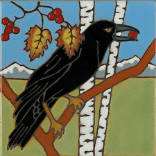 Raven Crow Blackbird ceramic tile painting or hotplate mosaic kitchen backsplash