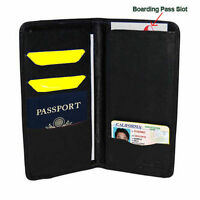 Genuine Leather Wallet Passport Cover ID Boarding Pass Holder Travel Air Ticket