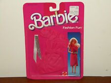 1984 Barbie Fashion Fun MOC #2086 Dark Pink Dress w/ Ruffle Neck & Silver Belt