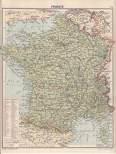 c1940 MAP ~ FRANCE WITH DEPARTMENTS ~ FROM WAR ATLAS