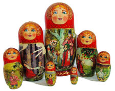 "7pcs. Exclusive Russian Nesting Doll ""Magic Wild Geese"" Fairy tale By L Semenova"