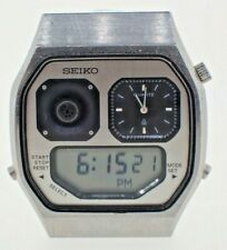 Vintage H239-5020 Seiko Robot Digital Analog Alarm LCD Wristwatch Stainless