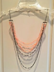 ALEXIS BITTAR Multi Strand Coral & Goldtone Necklace, Orig. $485